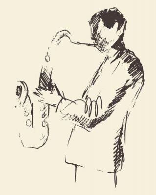 Poster Poster Jazz saxofone da música acústica consept