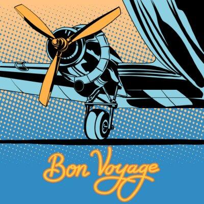 Poster Poster retro do avião do curso da viagem Bon