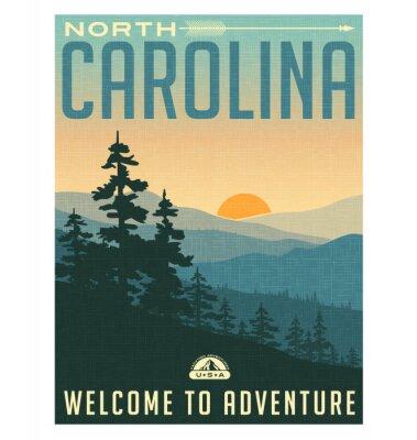 Poster Poster retro do curso do estilo ou etiqueta. Estados Unidos, Carolina do Norte, Montanhas Great Smoky
