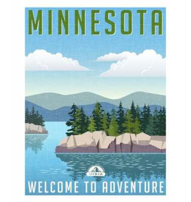 Poster Poster retro do curso do estilo ou etiqueta. Estados Unidos, Minnesota lago cénico