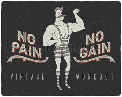 Poster Poster vintage com homem forte de circo e slogan: