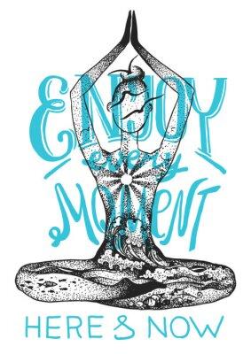 Poster Postura de meditação de ioga. Ilustração gráfica desenhada a mão do vetor gráfico