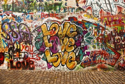 Poster Prague, Czech Republic - October 7, 2010: A section of the Lennon Wall in the Little Town area of Prague near the Charles Bridge. This landmark wall is open to public graffiti in remembrance of John L