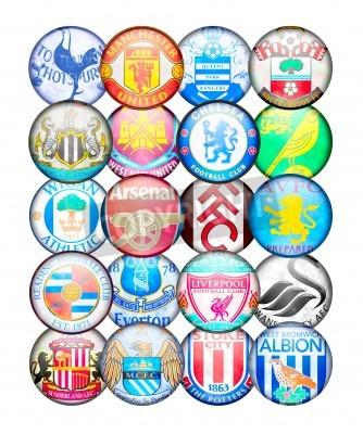 Poster Premier League 2012/13 Selecção: Cores e crachás de Inglês de Futebol Clubes