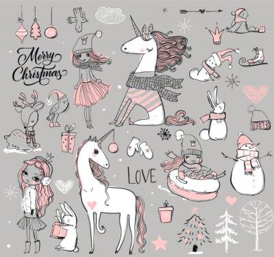 Poster Princesa do doodle com unicórnio