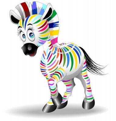 Poster Processo Zebra dos desenhos animados Quadricromia-Four Color Zebra-Vector