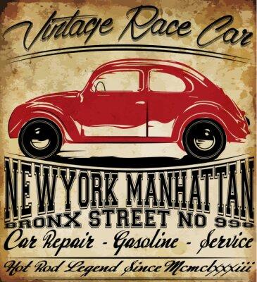 Poster Projeto clássico retro do t-shirt do homem T retro do vintage