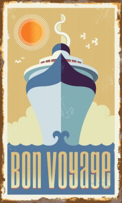 Poster Projeto de navio de cruzeiro retro do vetor do vintage - poster do sinal de metal