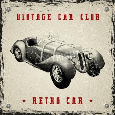 Poster Projeto do cartaz do carro do vintage com textura do ponto da reticulação da cópia do pixel