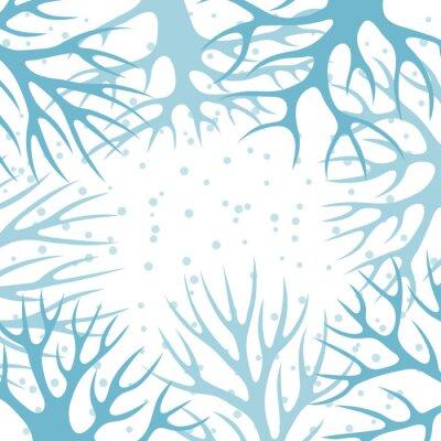 Poster Projeto do fundo do inverno com árvores estilizados abstratas