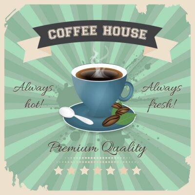 Poster Projeto do poster da casa do café com a chávena de café no estilo retro.