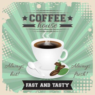 Poster Projeto do poster do grunge da casa de café com efeito de intervalo mínimo. Copo de café, colher, grãos de café, placa, folhas e vapor.
