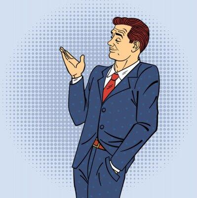 Poster Publicidade Homem no Estilo Pop Art Apontando Mão em seu Produto
