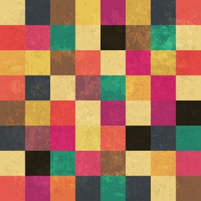 Poster Quadrados envelhecidos coloridos. Teste padrão sem emenda. Camadas de grunge podem ser ea