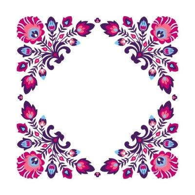 Poster Quadro floral folk roxo