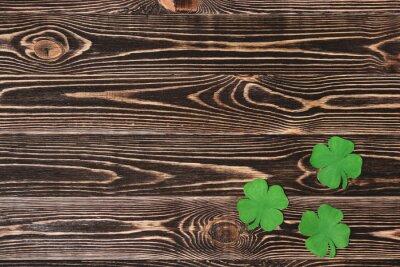Poster Quatro, folha, trevos, madeira, fundo