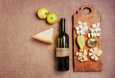 Poster Queijo, prato, decorado, mel, maçã, garrafa, vinho