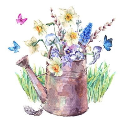 Poster Ramalhete da mola com daffodils, pansies, muscari e borboletas
