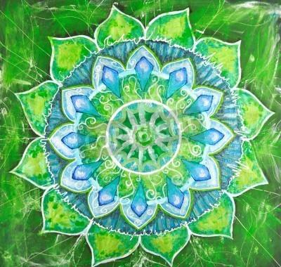 Poster resumo quadro pintado verde com teste padrão do círculo, mandala de anahata chakra