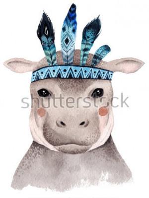 Poster Retrato de hipopótamo em aquarela, design boho bonito com penas. Estampa de viveiro com animais, cartazes e postais.