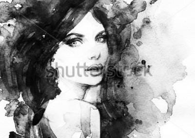 Poster retrato de mulher. aquarela abstrata.