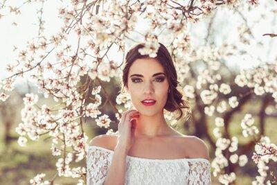 Poster Retrato, jovem, mulher, florido, jardim, nascente, tim