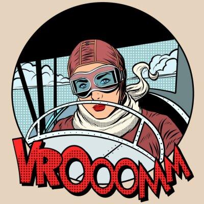 Poster Retro, aviador, mulher, avião
