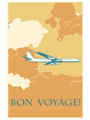 Poster Retro avião Bon voyage
