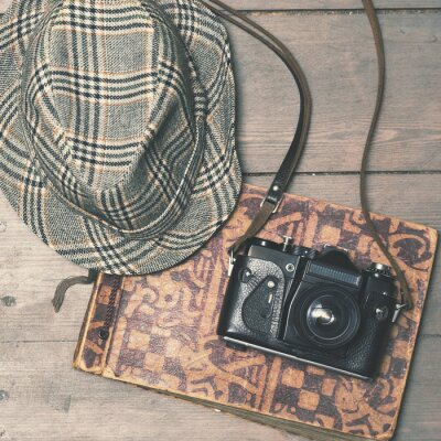 Poster Retro, câmera, vindima, trilby, chapéu, foto, álbum ...