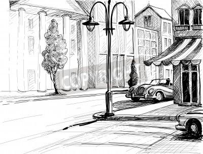 Poster Retro esboço cidade, rua, edifícios e carros antigos ilustração vetorial, lápis no estilo de papel