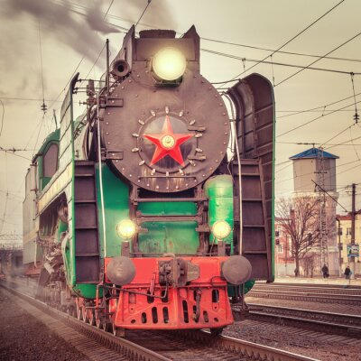 Poster Retro trem a vapor.