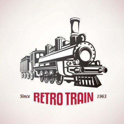 Poster Retro, trem, vindima, vetorial, Símbolo, emblema ...