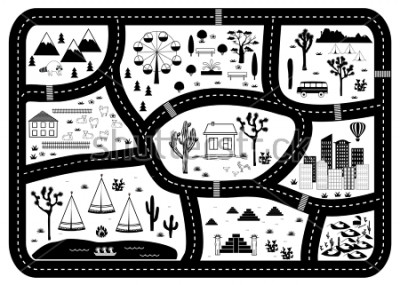Poster Road, Mountains and Woods Adventure Map. Kids play carpet or poster with native americans tribal elements. Trendy black and white Scandinavian Style. Vector illustration