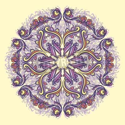 Poster Rodada Ornamental rendado floral padrão floral kaleidoscopic, mandala