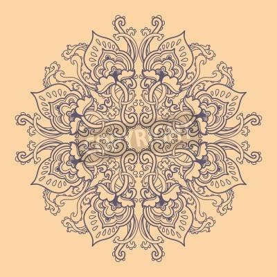 Poster Rodada Ornamental rendado floral. teste padrão floral caleidoscópica, mandala.