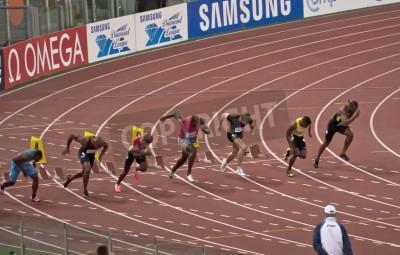 Poster ROMA. 31 de maio: Usain Bolt corre e ganha 100 m corrida de velocidade no Golden Gala no Estádio Olímpico, em 31 de maio de 2012 em Roma