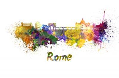 Poster Roma horizonte em aquarela