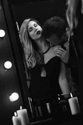 Poster Romanticos, apaixonado, par, espelho