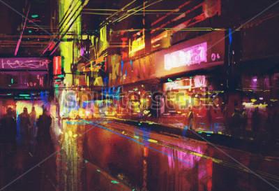 Poster rua da cidade com iluminação e vida noturna, pintura digital