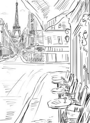 Poster Rua em paris-esboço ilustração