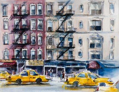 Poster Rua movimentada de Nova York. Esboço da aguarela
