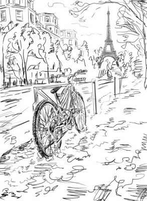 Poster Rua no Outono de Paris. Torre Eiffel -sketch ilustração
