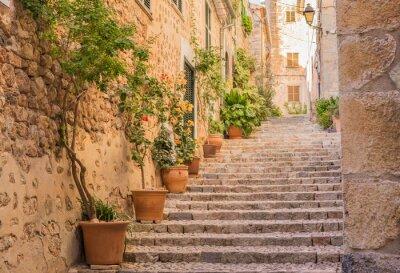 Poster Rua velha aldeia escadas Mediterrâneo