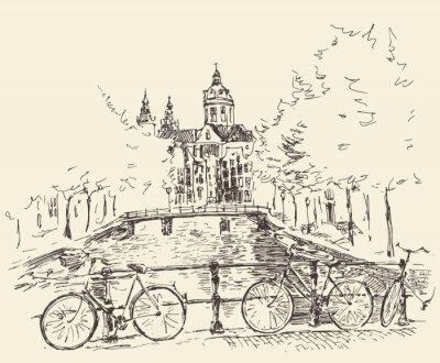 Poster Ruas da cidade de Amsterdam, ilustração vetorial