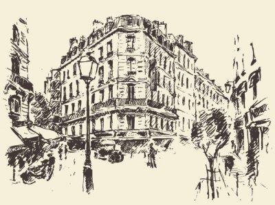 Poster Ruas, Paris, França, vindima, Ilustração, desenhado