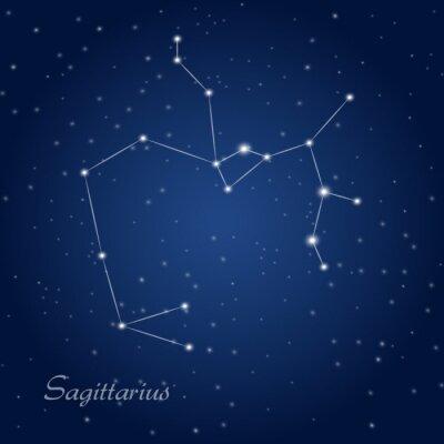 Poster Sagitário sinal da constelação do zodíaco no céu nocturno estrelado
