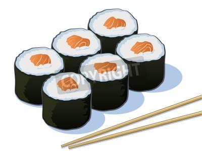 Poster Salmon Sushi Rolls com varas da costeleta