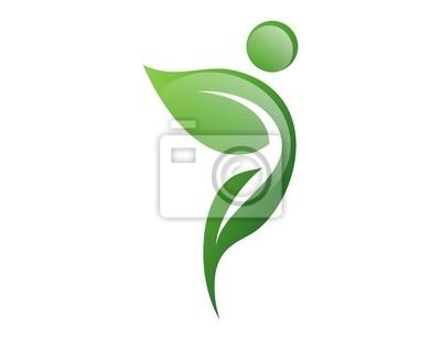 862ad5cf78497 Poster saúde logotipo natureza, símbolo da folha, pessoas ativas ícone  naturais
