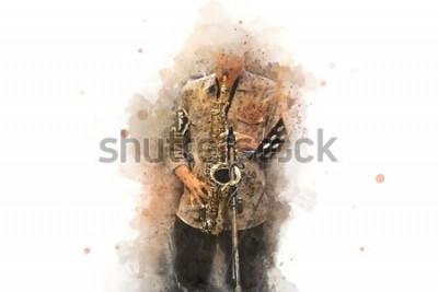 Poster Saxofone abstrato em primeiro plano. Feche acima, jazz da pintura da aguarela que joga o saxofone.