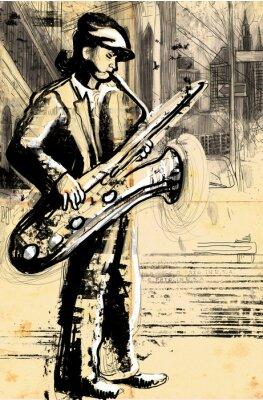 Poster saxofonista (desenho da mão de tamanho completo - Original)